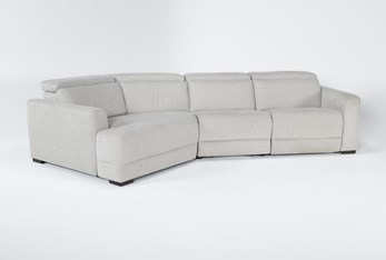 """Chanel Grey 3 Piece 138"""" Sectional With Left Arm Facing Cuddle Chaise & Power Headrest"""