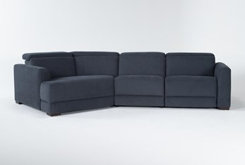 """Chanel Denim 3 Piece 138"""" Sectional With Left Arm Facing Cuddle Chaise & Power Headrest"""