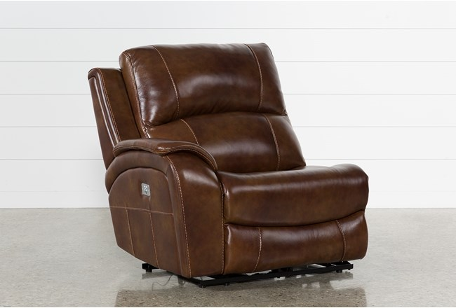 Travis Cognac Leather Laf Power Recliner W/Power Headrest And Usb - 360