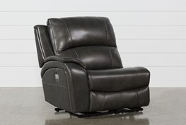 Travis Dark Grey Leather Left Arm Facing Power Recliner With Power Headrest And USB