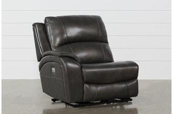 Travis Dark Grey Leather Laf Power Recliner W/Power Headrest And Usb