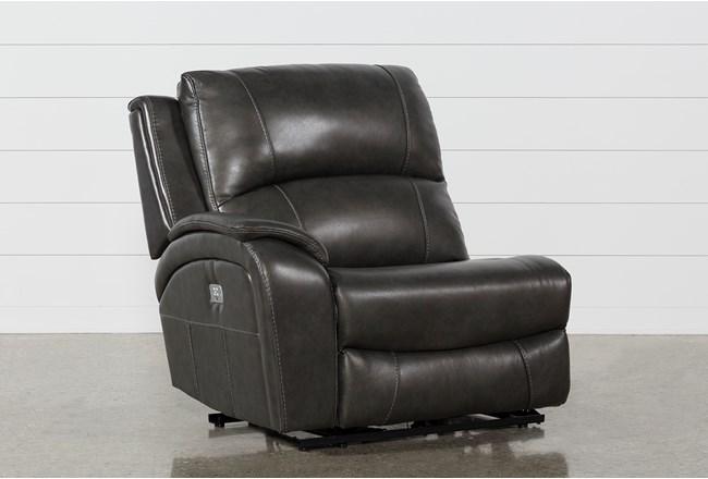 Travis Dark Grey Leather Laf Power Recliner W/Power Headrest And Usb - 360