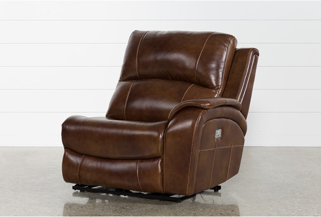 Travis Cognac Leather Right Arm Facing Power Recliner With Power Headrest And USB - 360