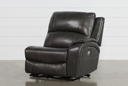 Travis Dark Grey Leather Right Arm Facing Power Recliner With Power Headrest And USB