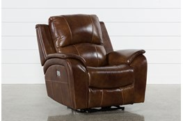Travis Cognac Leather Power Recliner W/Power Headrest And Usb