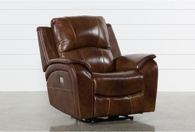 Travis Cognac Leather Power Recliner With Power Headrest And USB - 360