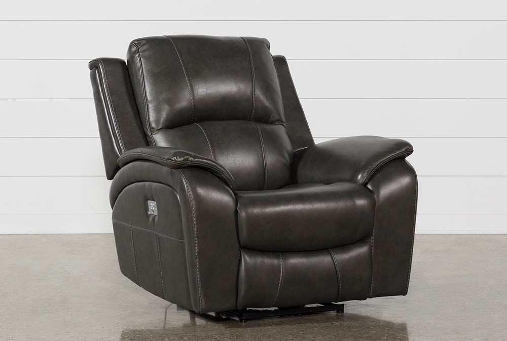 Travis Dark Grey Leather Power Recliner With Power Headrest And USB
