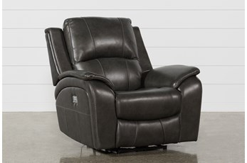 Travis Dark Grey Leather Power Recliner W/Power Headrest And Usb