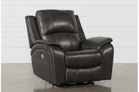 Travis Dark Grey Leather Power Recliner With Power Headrest And USB - Main