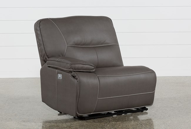 Marcus Grey Left Arm Facing Power Recliner With Power Headrest And Usb - 360