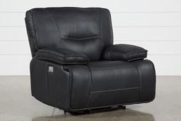 Marcus Black Power Recliner With Power Headrest & Usb