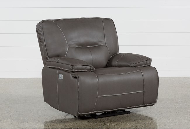 Marcus Grey Recliner With Power Headrest And USB - 360