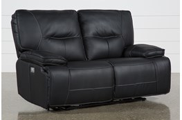 "Marcus Black 65"" Power Reclining Loveseat With Power Headrest & USB"