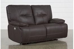 "Marcus Chocolate 65"" Power Reclining Loveseat With Power Headrest & Usb"