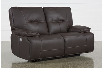 Marcus Chocolate Power Reclining Loveseat With Power Headrest & Usb