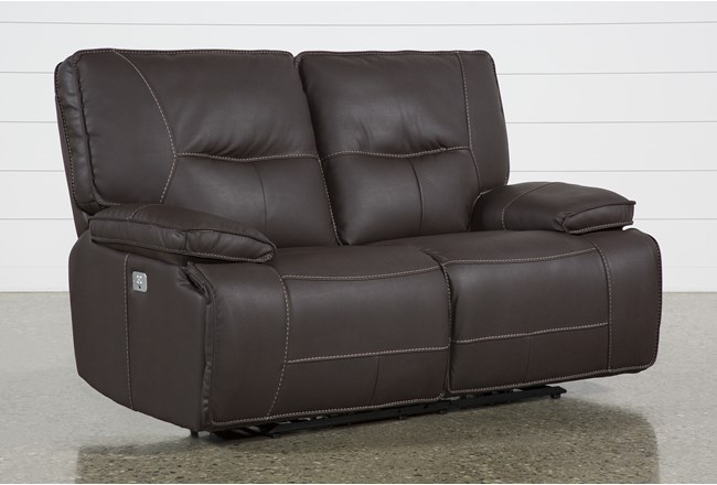 "Marcus Chocolate 65"" Power Reclining Loveseat With Power Headrest & Usb - 360"