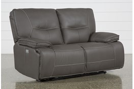 "Marcus Grey 65"" Power Reclining Loveseat With Power Headrest & USB"
