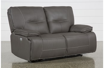 "Marcus Grey 65"" Power Reclining Loveseat W/Pwr Headrest & Usb"