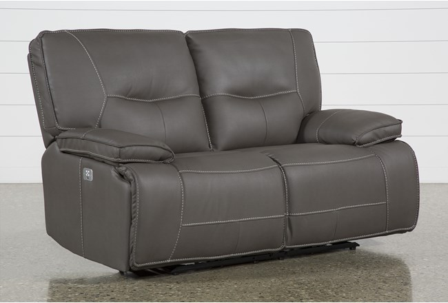 "Marcus Grey 65"" Power Reclining Loveseat With Power Headrest & USB - 360"