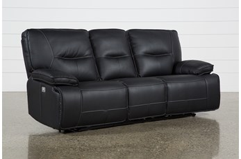 "Marcus Black 88"" Power Reclining Sofa W/Pwr Headrest Usb"