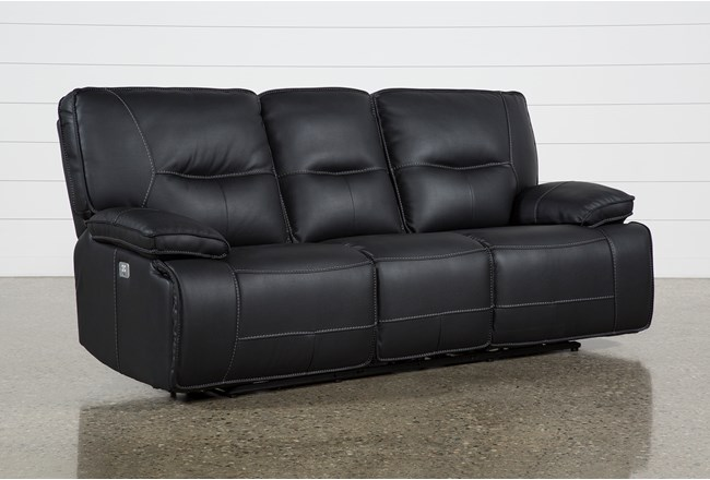 "Marcus Black 88"" Power Reclining Sofa With Power Headrest USB - 360"