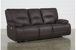 "Marcus Chocolate 88"" Power Reclining Sofa W/Power Headrest & Usb"