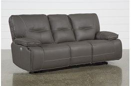 "Marcus Grey 88"" Power Reclining Sofa With Power Headrest & USB"