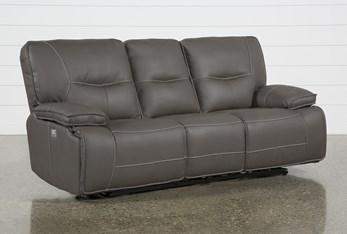 "Marcus Grey 88"" Power Reclining Sofa With Power Headrest & USB"