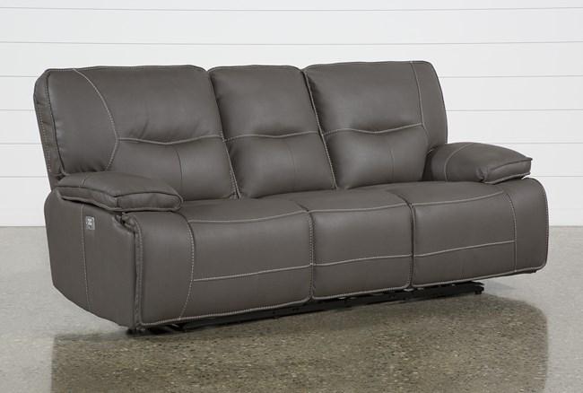 "Marcus Grey 88"" Power Reclining Sofa With Power Headrest & USB - 360"