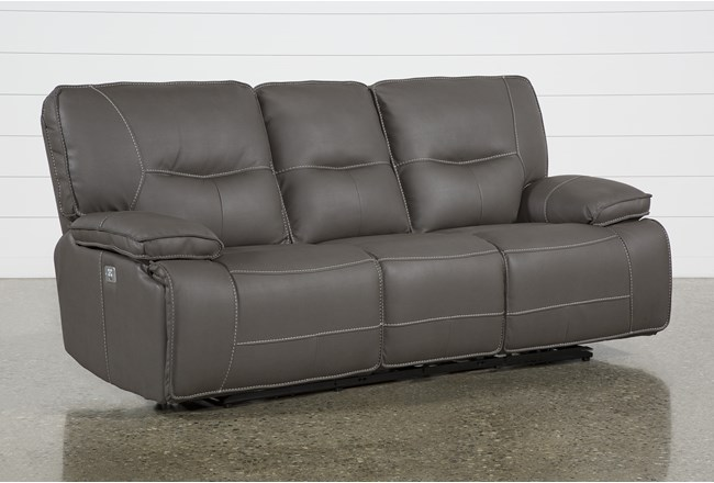 "Marcus Grey 88"" Power Reclining Sofa With Power Headrest & USB - 360"