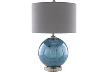 Table Lamp-Blue Glass With Metal Base