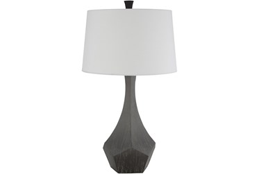 Table Lamp-Charcoal Hand Finished Composition
