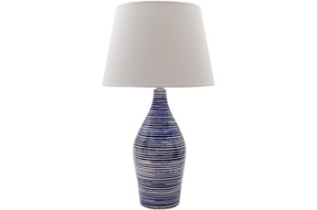 Table Lamp-Navy Blue Glazed Ceramic