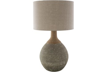 Table Lamp-Tan Grey Natural Finish Glass