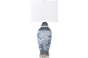 Table Lamp-Blue Hand Painted Ceramic