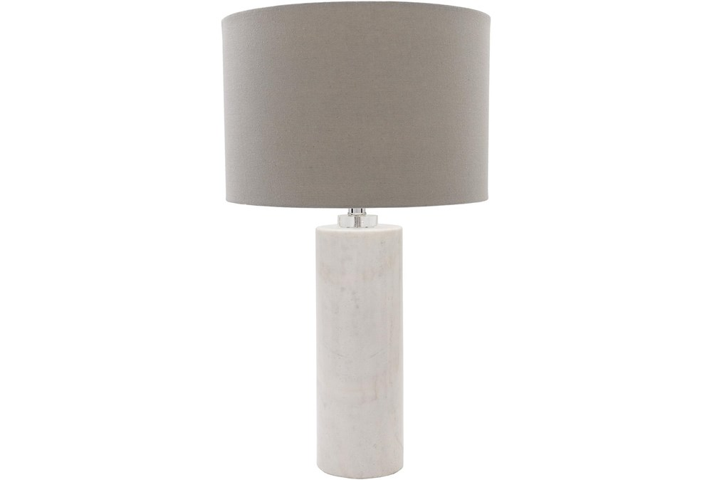 Table Lamp-White Natural Finish Marble Body