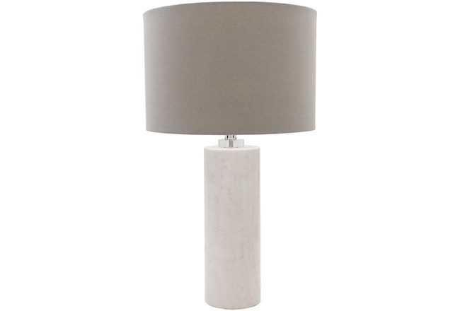 Table Lamp-White Natural Finish Marble Body - 360