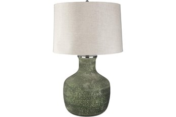 Table Lamp-Dark Green Sandblasted Glass
