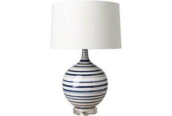Table Lamp-Blue White Stripes Ceramic