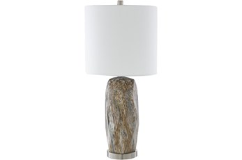 Table Lamp-Silver Brushed Marbled Ceramic