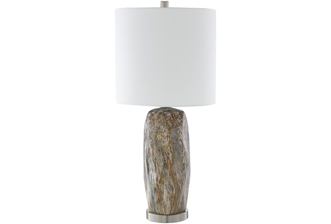 Table Lamp-Silver Brushed Marbled Ceramic - 360