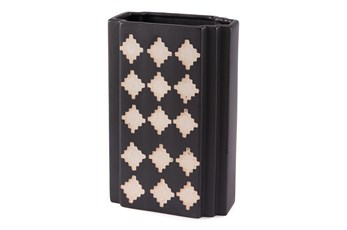 12 Inch Black And Beige Rectangular Vase