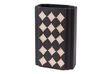 12 Inch Black And Beige Rectangular Vase - Main