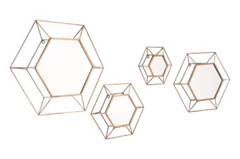 Hexagon Cut Out Wall Mirrors Set Of 4