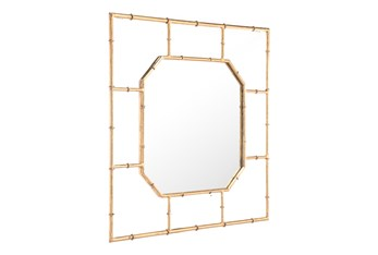 Gold Bamboo Square Wall Mirror