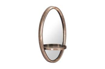 Gold Circle Shelf Wall Mirror