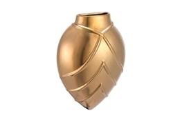 8 Inch Lined Pattern Matter Gold Vase
