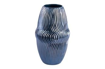 13 Inch Blue Lined Vase
