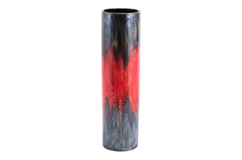 14 Inch Red And Black Lava Vase