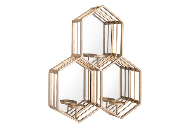 Mirrored Hexagon Candle Holder Wall Decor  - 360